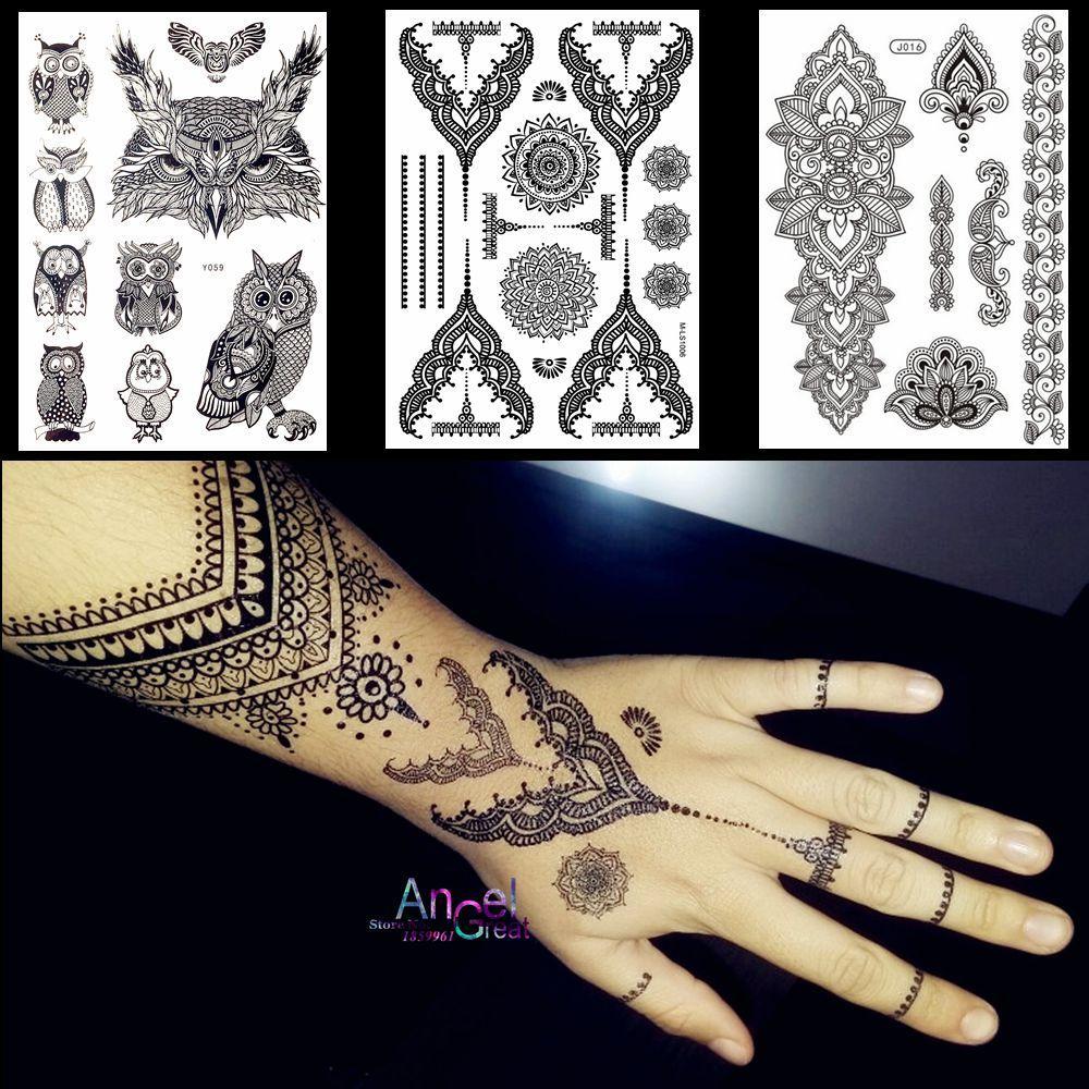 Grosshandel Spitze Schwarz Henna Tattoo Aufkleber Eule Mandala