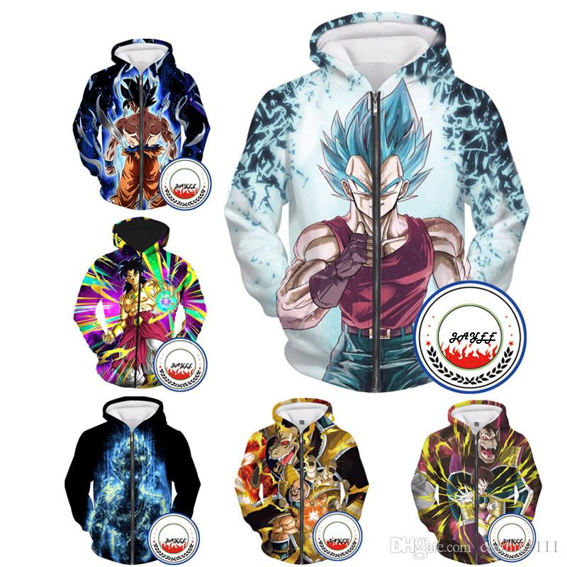 Zipper Hoodie 3d Dragon Ball Sweatshirts Zip Up Hoodies Cartoon Coats  Casual Jacket Outerwear Men Women Outer Unisex Look S-5XL Sweatshirt