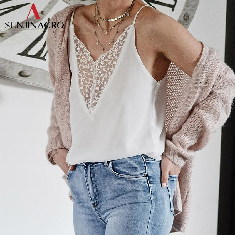 a62376329eb2a 2019 SUNJINACRO Sexy White Lace Camisole Tops Women V Neck Sleeveless Strap  Tank Top Casual Summer Tops Lace Sleepwear Nightshirts From Blueberry13