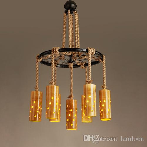 Retro Chinese Hemp Bamboo Industrial Pendant Lamps Led Chandelier