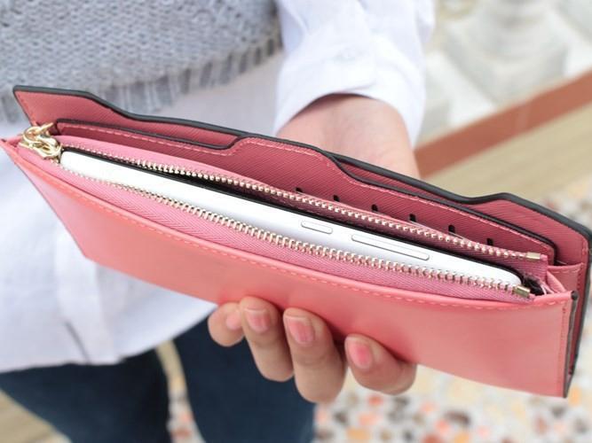 Cute Bow Hasp Zipper Fold Over Women Wallets 2017 Design Long PU Leather Wallet Women Clutch Coin Purses Card Holder BG252