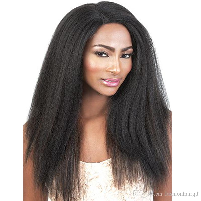c5587fce032 Kinky Straight Full Lace Human Hair Wigs For Black Women Cheap Coarse Yaki Brazilian  Virgin Hair Lace Front Wigs 130% Density Natural Color Cheap Human Lace ...