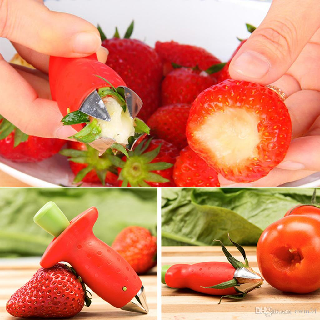 Strawberry Huller Remover Portable Tomaten Strawberry Stem Blätter Entferner Removal Fruit Corer Küchenhelfer Watermelon Red