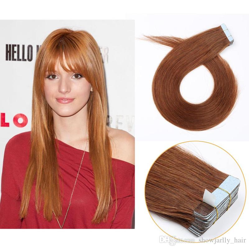Professional Red Brown Cheap 40g Tape In Hair Extensions 18 Inch
