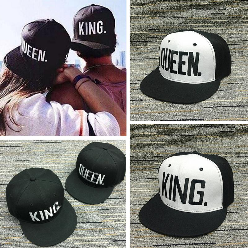 KING QUEEN Letter Embroidery Baseball Cap for Lovers Snapback Hats ... bcefd6e82f1b