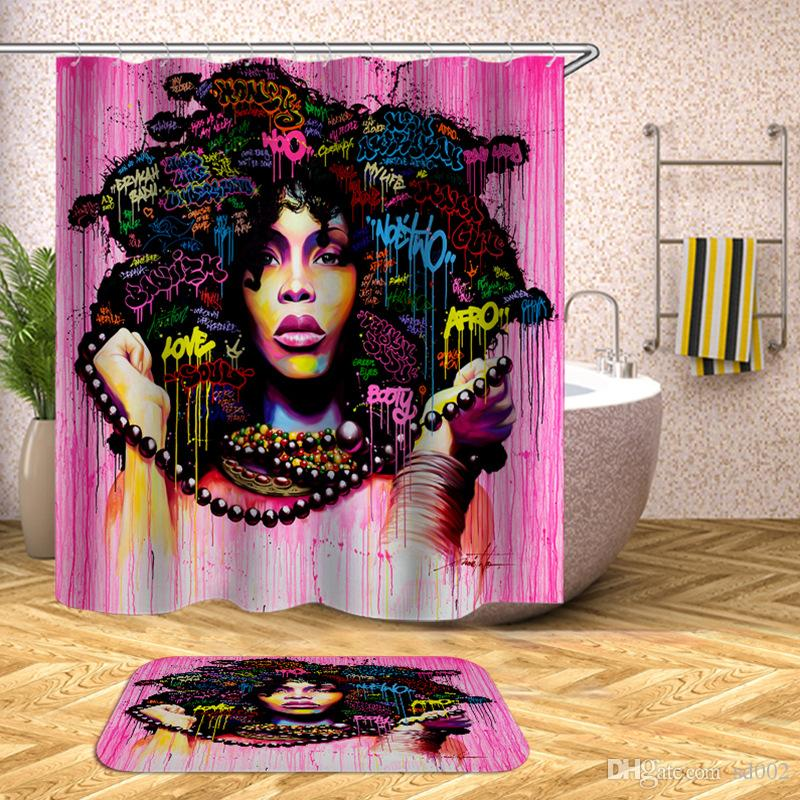 Shower Curtain Toilet African Woman Polyester Fabric Bath Cloth Home Bathroom Door Decoration Water Proof Window Curtains 36yf bb