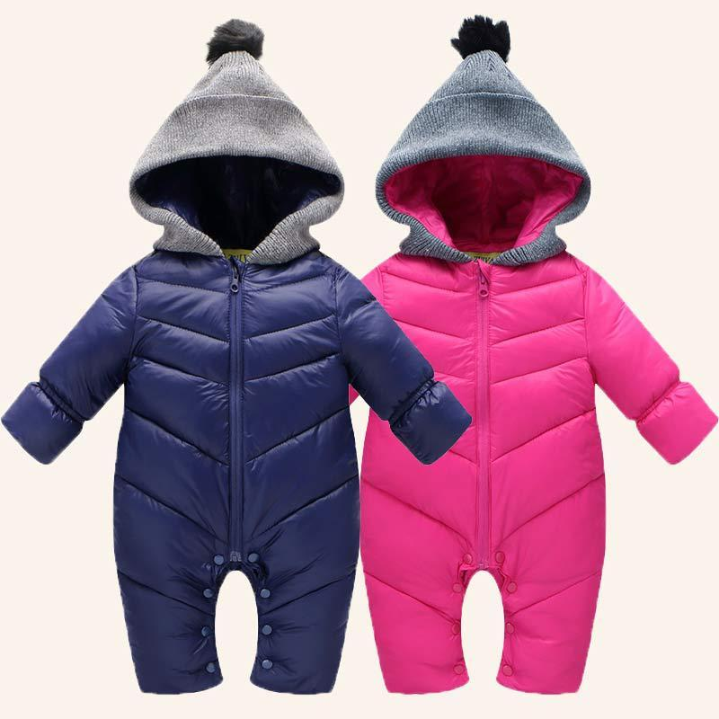 ec7bfe0bd1dc 2019 Winter Baby Romper Baby Clothes Warm Coat Jacket Parka Baby Boys Girls  Hooded Jumpsuit Kids Infant Clothing From Fashionchildstore