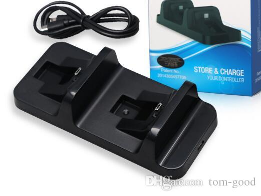 Estación de base de carga USB Dual inalámbrico Stand para Playstation 4 Tarjeta de control PS4 Game Black Charger para Dualshock 4 handle in