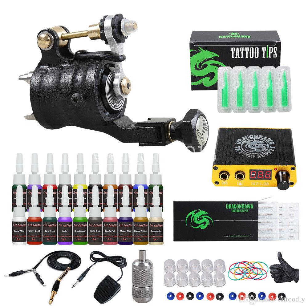 New Tattoo Kit Dragonhawk Airfoil V2 Rotary Machine Mini LCD Power ...