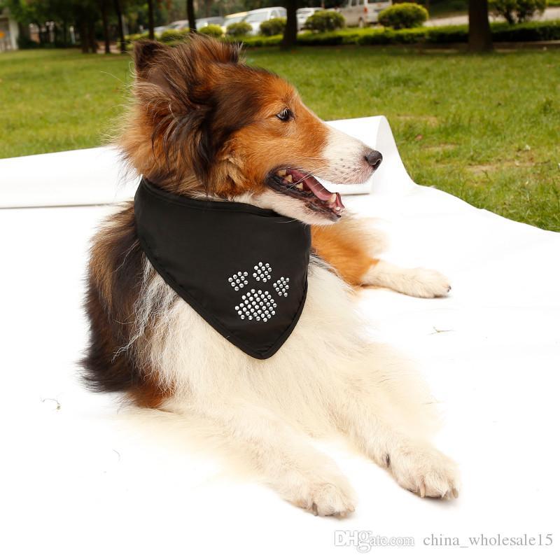 AGI-202 New Arrival 3 projetos Opcional Ajustável Pet Dog Scarf Collar com diamante Puppy Cat Bandana Decoração Lenço