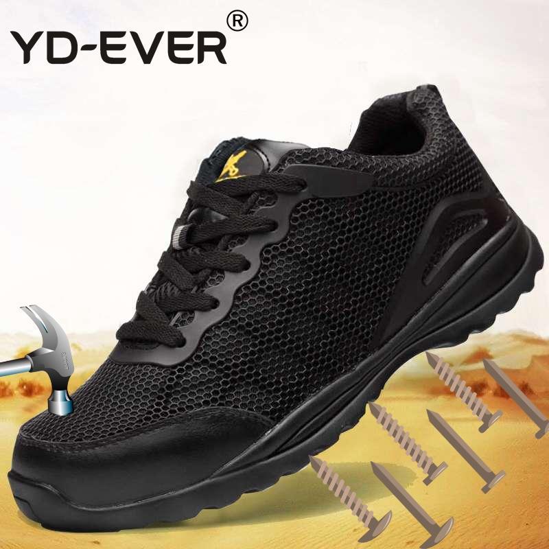 YD EVER Männer große Größe Stahl Zehe deckt Arbeit Sicherheitsschuhe atmungs durchstechen Beweis Werkzeug Sicherheit niedrige Stiefel schützen Komfort