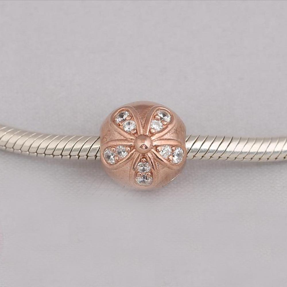 7cf10918b Authentic 925 Sterling Silver Beads Rose Gold Dazzling Daisies Clip,Clear  CZ Fits European Pandora Style Jewelry Bracelets