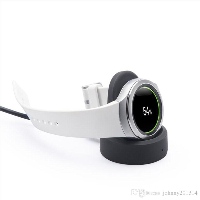 Hot Samsung Gear S2 S3 Smart Watch Trasmettitore caricabatterie wireless Carica veloce Pad di ricarica wireless Dock collegato con USB Desktop