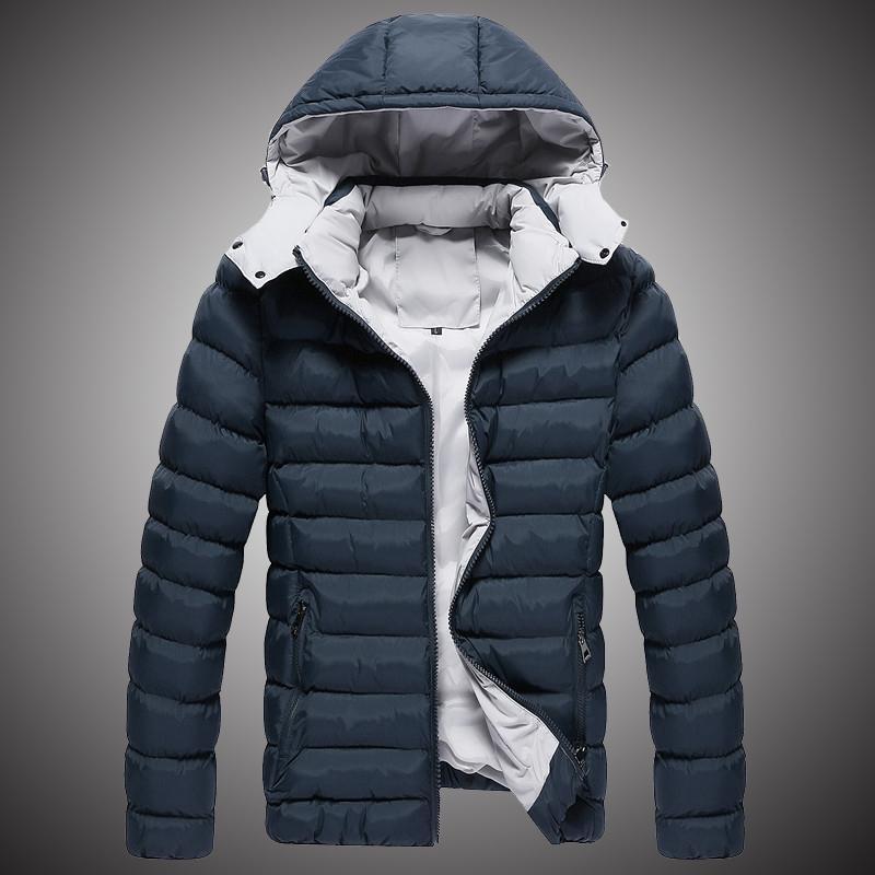 Acquista Inverno Parka Uomo Caldo Giacche Cappotto Di Colore Solido Giacca  Con Cappuccio Mens Cappotto Invernale 2018 Moda Parka Uomo Nero Blu S160 A   47.12 ... 06a30522a4d