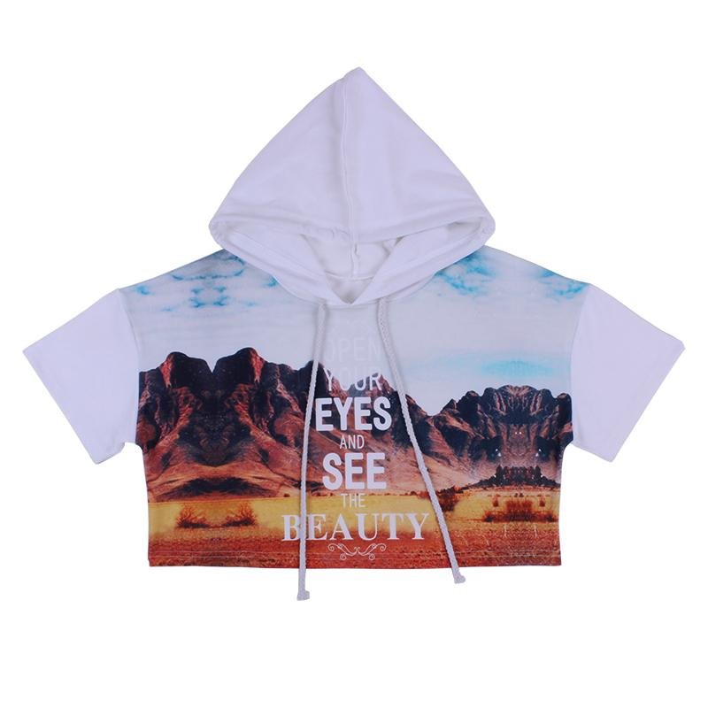 38cf5b83382d2 2019 Open Your Eyes And See The Beauty Short Sleeve Mountain Print Chic  Sexy Hoodied Streetwear Sweatshirt From Blueberry07, $35.9 | DHgate.Com