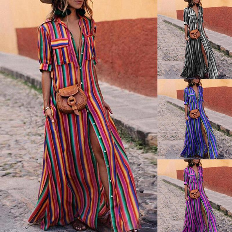 2019 Women Beach Dress Long Plus Size 2019 Colour Stripes Pockets Shirt  Blouse Dress Ladies Beachwear Dresses Long Dresses Maxi Size From  Insightlook ab78a4da3431