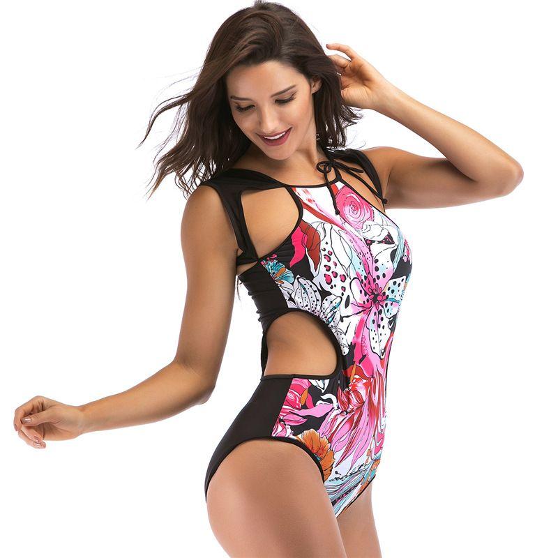 ab105efa49 Bandage Cut Out Summer Beach Bathing Suit Swim Monokini Swimsuit XL 2018  Sexy One Piece Swimsuit Women Swimwear Print Bodysuit Online with   20.35 Piece on ...