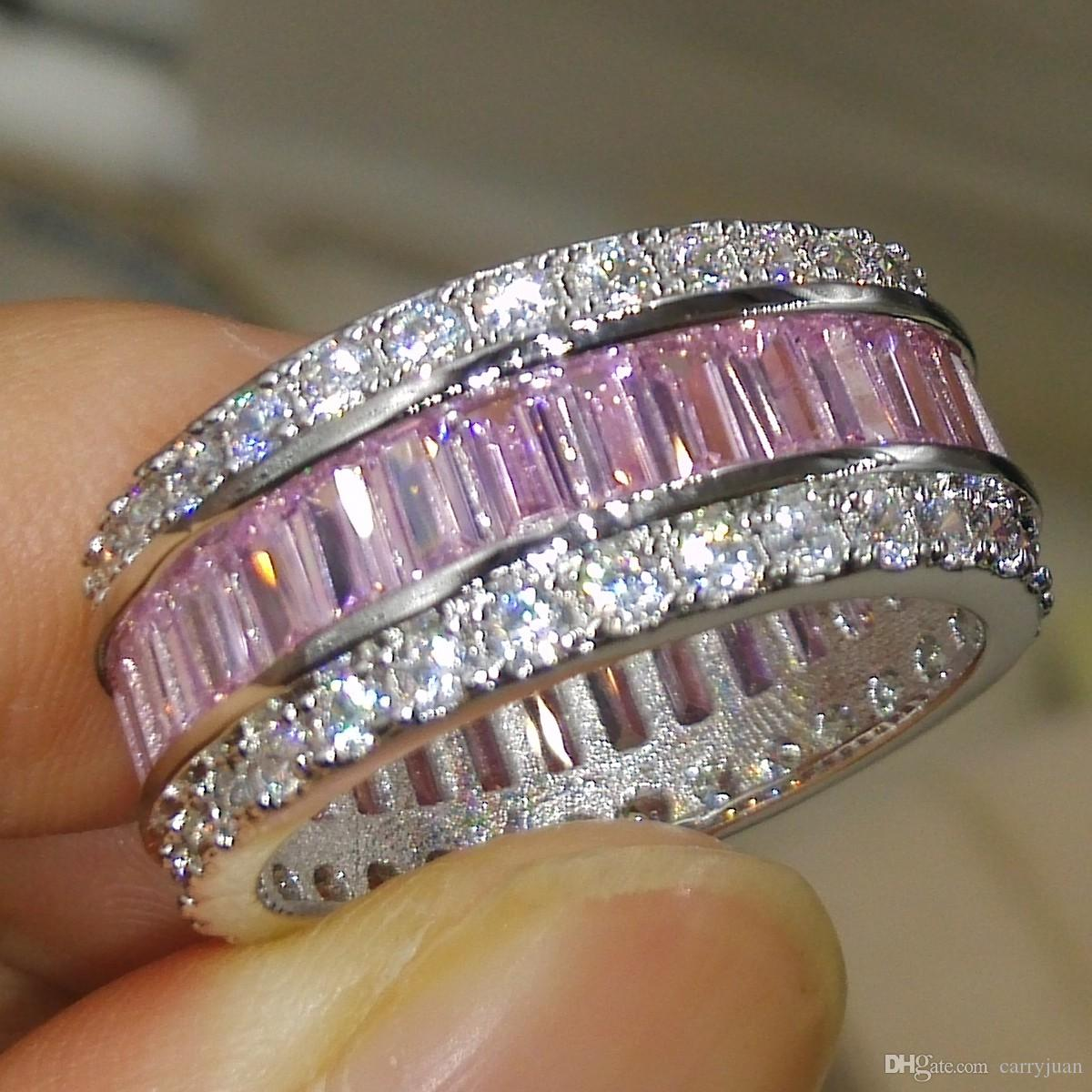 Виктория Вик сексуальное новое прибытие роскошные ювелирные изделия 10kt белого золота заполнены Принцесса розовый сапфир CZ Алмаз драгоценных камней женщины обручальное кольцо