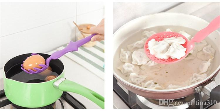 Venta caliente creativo electrodomésticos de cocina multifunción cuchara de sopa de dibujos animados cuchara de pasta colorido plástico colador T3I0006