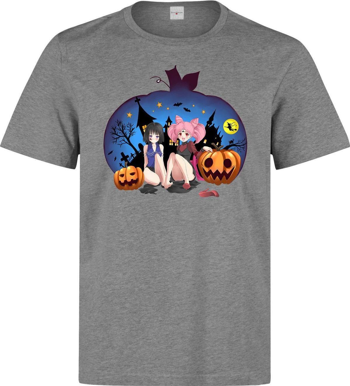 d0197c5a Anime Halloween Pumpkin Witch Girls Manga Men's (woman's available) grey t  shirt