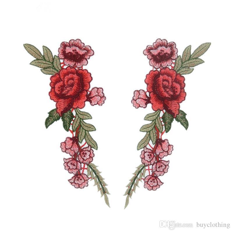 Rose Parches flowe para la Ropa Coser Parches Bordados Coser Apliques Parche Lindo Tela Insignia Prendas de Vestir Ropa DIY Accesorios