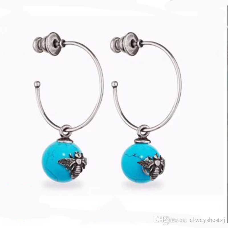l'atteggiamento migliore 66eda e4fbf Retro argento ape lettere orecchini con perline in ceramica timbro  orecchini pendenti in argento 925 orecchino ago per le donne regalo di  promenade ...