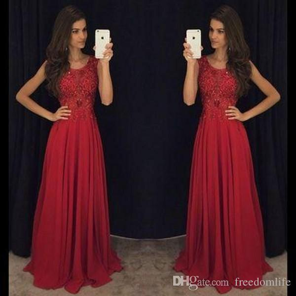 5f368e30d0f Charming Dark Red Prom Dresses A Line Beaded Sheer Scoop Neck Evening Dress  Chiffon Sleeveless Long Party Gowns Plus Size Prom Dress Prom Dreses From  ...