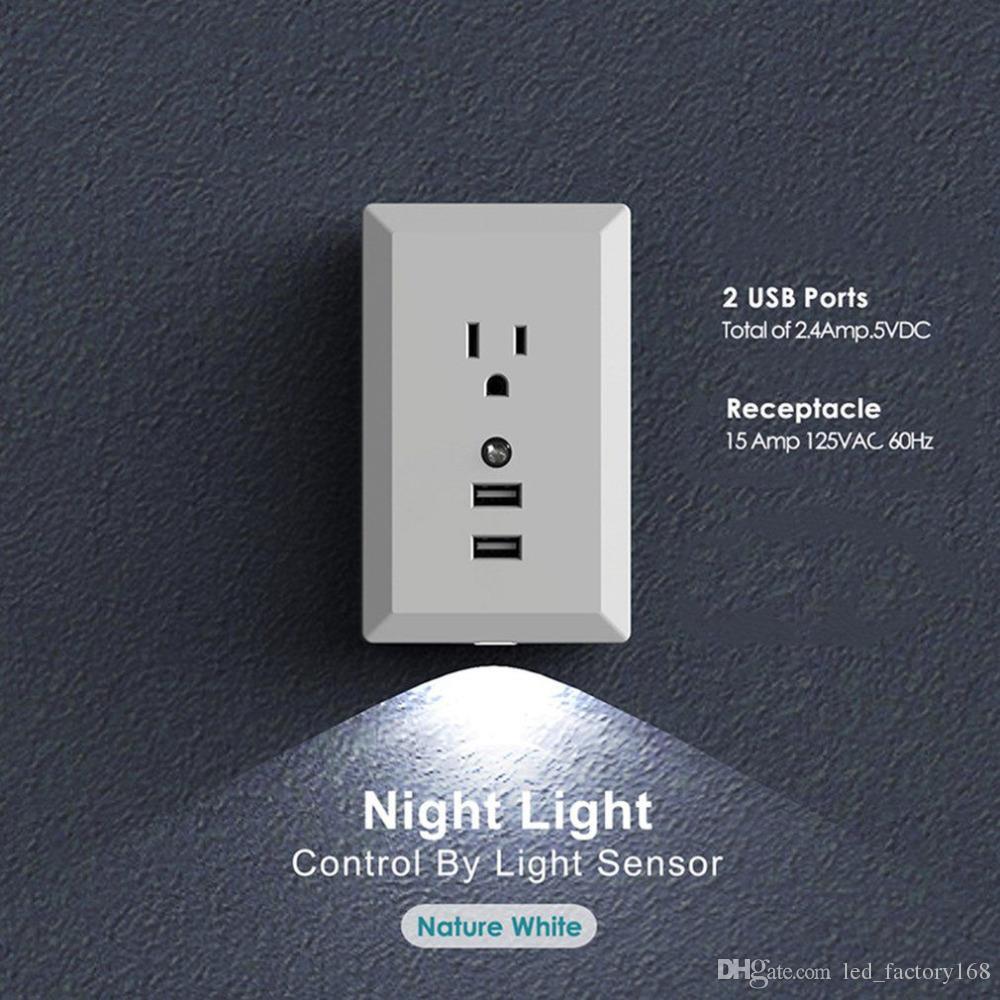 2018 2.4a Quick Charge Us Plug Switch Smart Dual Usb Wall Socket ...