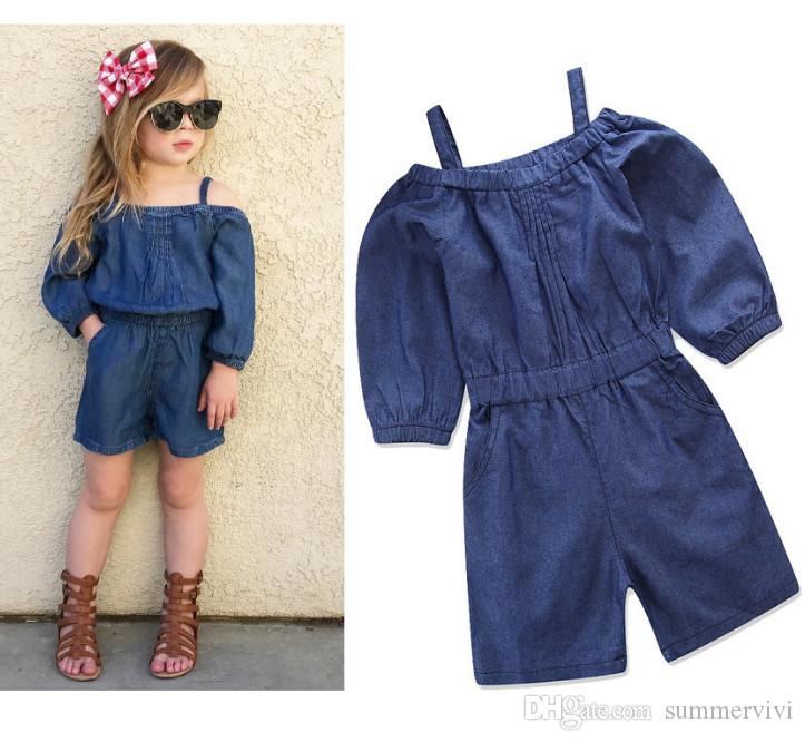 07880798c INS Toddler Kids Denim Jumpsuits Baby Girls Dew Shoulder Double ...