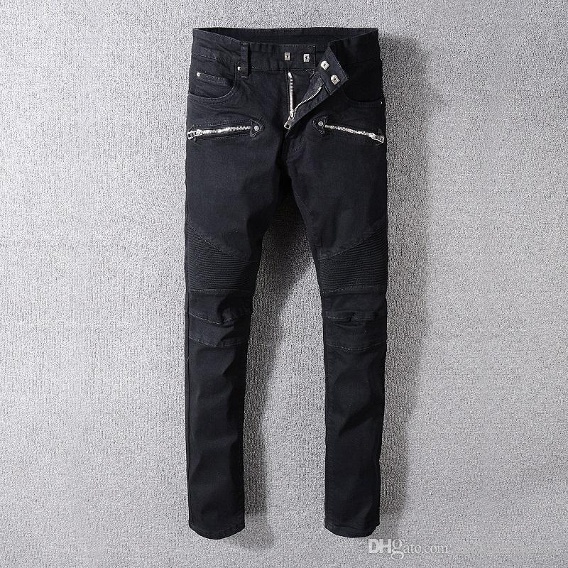 release info on later check out Acheter Balmain New Fashion Men Trous Jeans Top Qualité Hommes Piste Biker  Jeans Homme Droit Slim Denim Pantalon Décontracté À La Mode Designer De ...