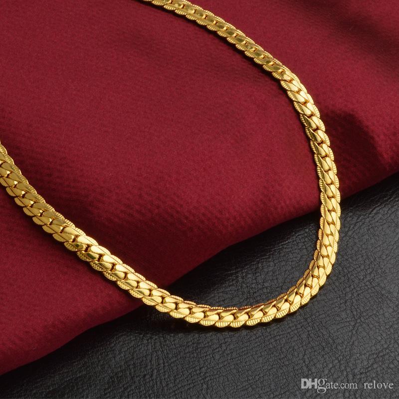 Moda de 5mm de Luxo hip hop Jóias 18 k banhado a ouro colar de corrente para mulheres dos homens cadeias Colares presentes acessórios Por Atacado