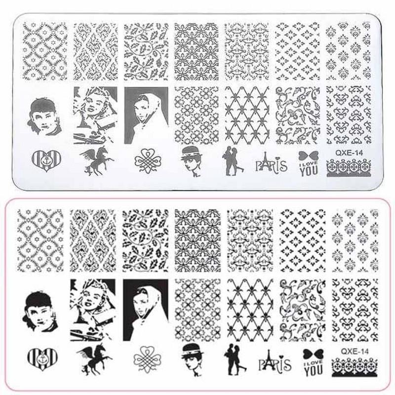 Qxe Nail Art Templates Stencil Stamping Image Diy Manicure Printing ...
