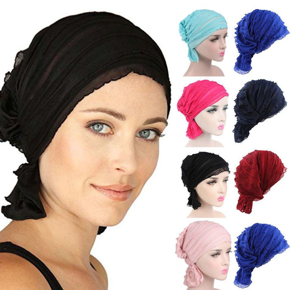 2019 Summer Bandanas Women Chiffon Hat Ruffle Cancer Chemo Hats Beanie  Scarf Turban Head Wrap Headwear Fitness Workout From Lvmangguo 95812d16d1d