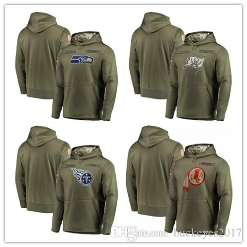 112f3468b 2019 2018 Men Tennessee Sweatshirt Titans Olive Seattle Seahawks Salute To  Service Tampa Bay Buccaneers Washington Redskins Pullover Hoodies From ...