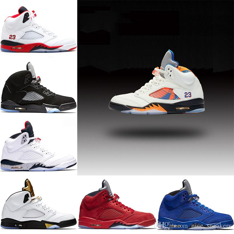 eecd9185169b Mens 5s Basketball Shoes International Flight Blue Red Suede White ...