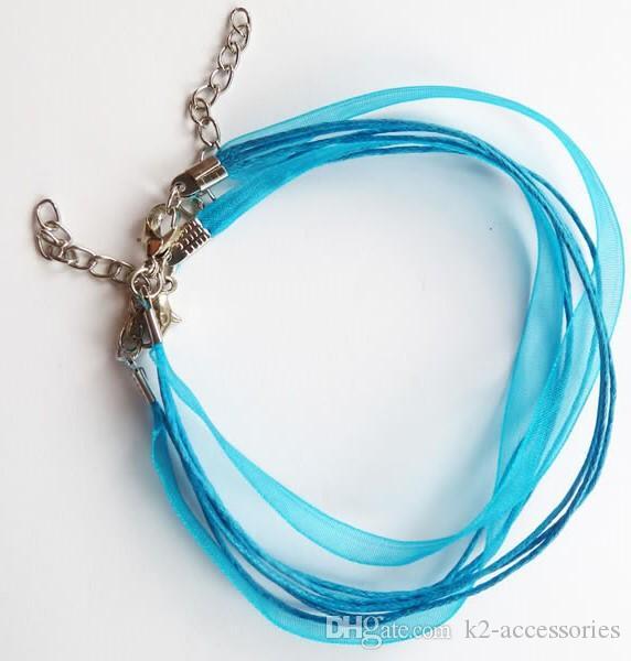 / chaud! Turquoise Bleu Ruban Voile Collier Cordon Bricolage Bijoux Craft 460mm