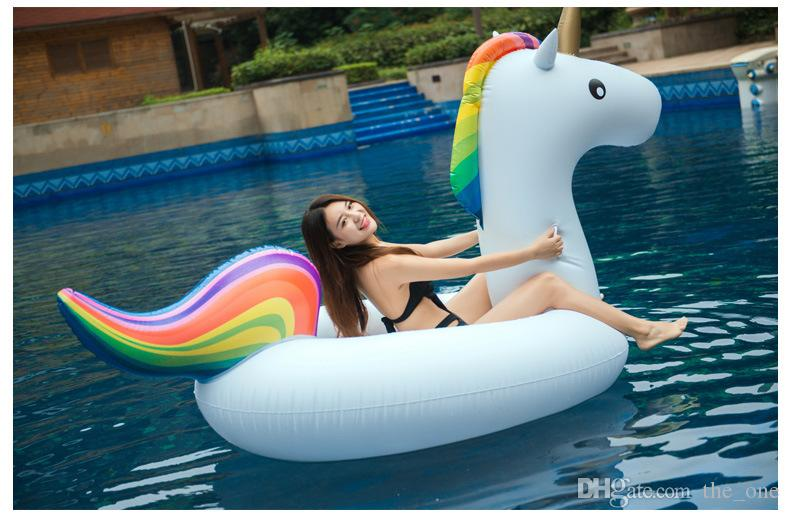Verano Playa Al aire libre Inflable Unicornio Flotante Fila Engrosamiento Ambiental Flamenco Flamingo Juegos de piscina Anillo de natación 270 cm Adultos y niños
