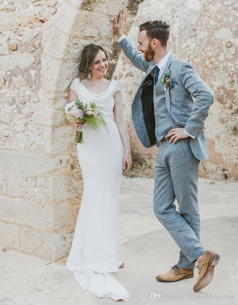 Spring Summer Custom Made Light Blue Linen Men Suits Wedding Suits Slim Fit Tuxedos Best Man Terno Masculino Jacket+Pants+Vest