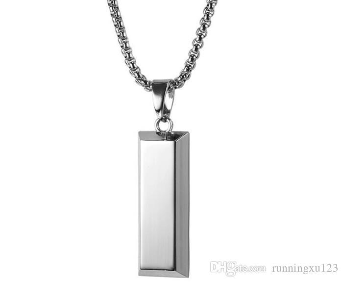 Hiphop Altın Küp Bar NecklacePendant Hip Hop Takı Dans Charm Franco Erkekler Zincir kolye R111