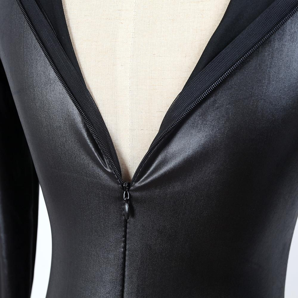 2017 Hot Super Sexy Adult Black Catwomen Jumpsuit PVC Leather Like Tight Coverall Bodysuits for Women Body Suits Party wear