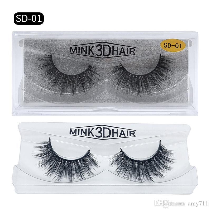 Heiße neue 3D Mink Wimpern Wimpern Massive Eime Lash-Verlängerung Sexy Wimper Full Strip Wimpern durch chemische Faser dicke DHL Versand