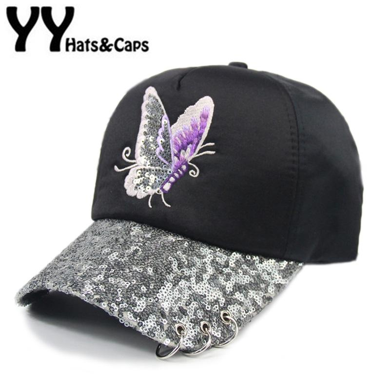 Butterfly Embroidery Baseball CAP Women Summer Snapback Sequins Hat Metal  Ring Sun Visor Brim Snap Back Hip Hop Cap Bone YY17149 Snapback Caps Fitted  Hats ... 3fe3ba98c8f3