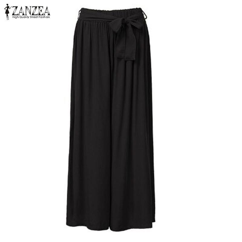 47f301be2bbd4 2019 ZANZEA Fashion 2018 Women Wide Leg Pants Vintage Casual Loose Elastic  Waist Trousers Cotton Solid Long Pants Oversized Plus Size Y1891701 From ...