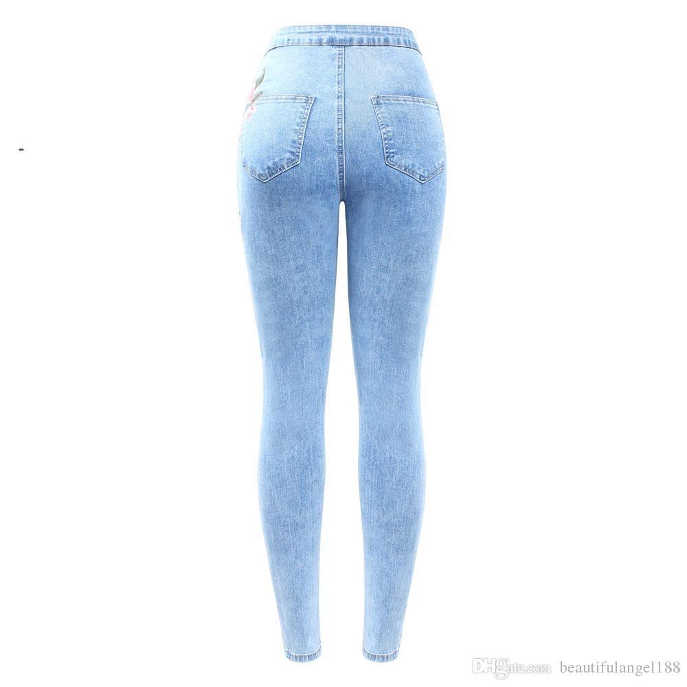 Nuovo arrivato Jeans a vita alta con ricamo Jeans donna grande taglia elastico in denim color skinny pantaloni pantaloni le donne