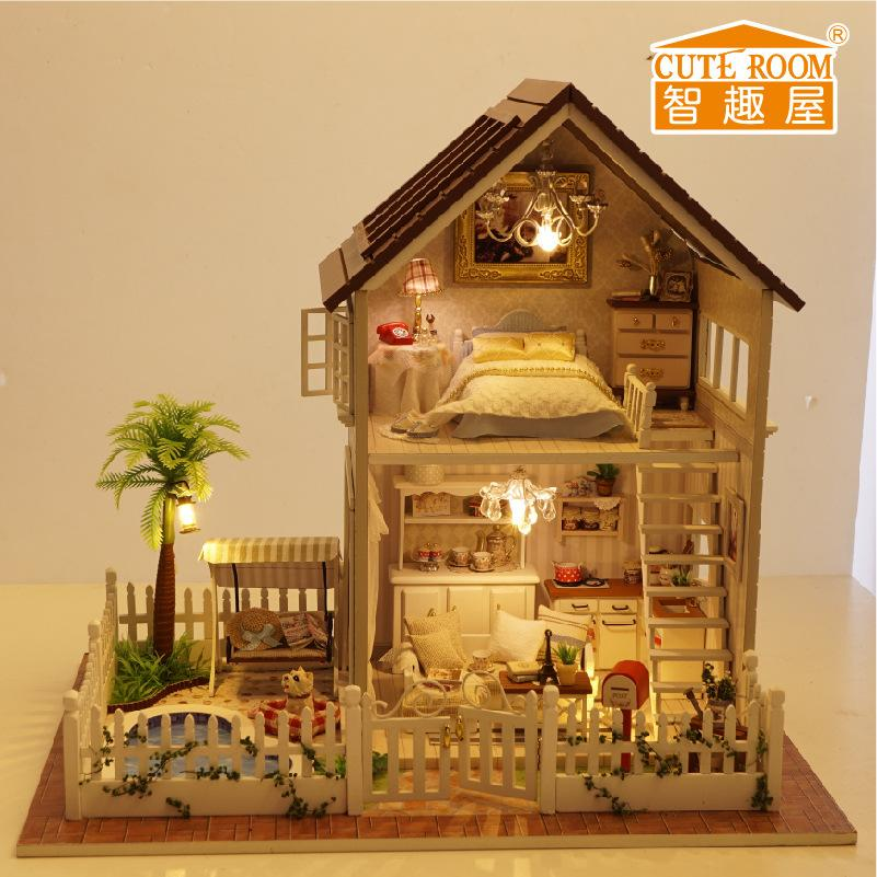 Wholesale  Assembling Diy Doll House Wooden Doll Houses Miniature Diy  Handmade Dollhouse Furniture Kit Room Led Lights Kids Birthday Gift Doll  House ...