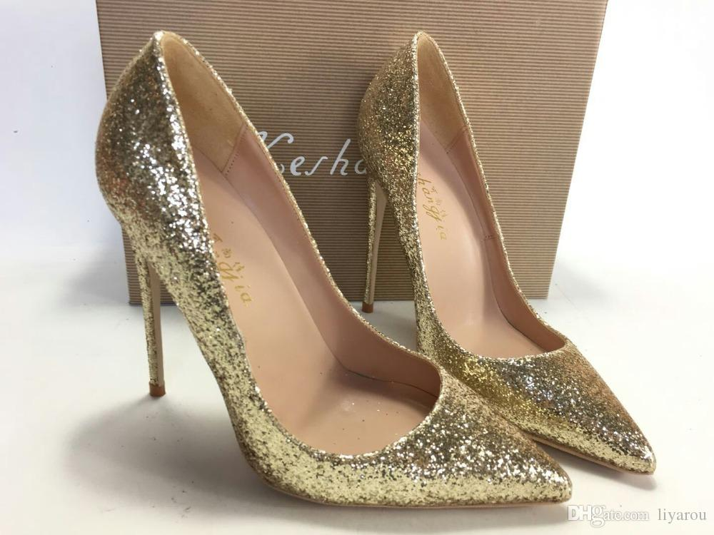 086dfccae249 Keshangjia Gold Glitter Sparkling Women Pumps Thin High Heels Shoes Woman  2018 Pointy Toe Stiletto Sexy Sandals High Heels Shoes Green Shoes From  Liyarou, ...