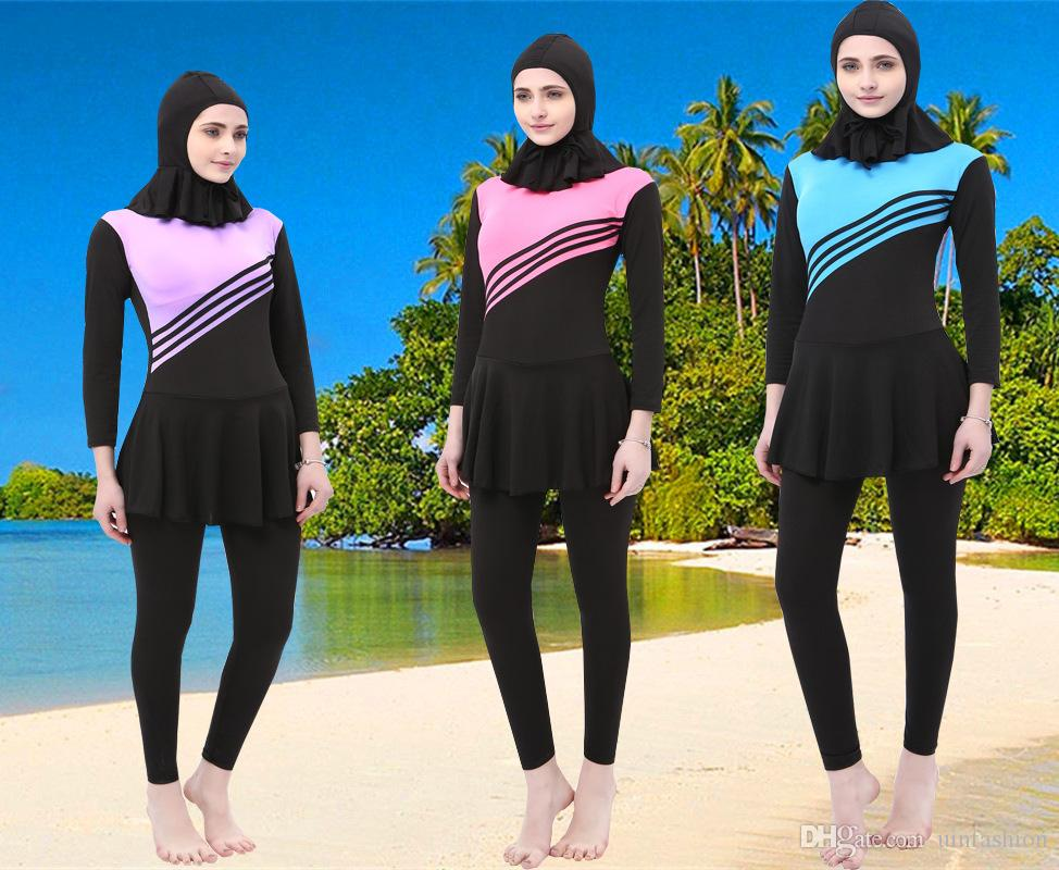 d3ada693cd 2019 Muslim Swimsuit Women Islamic Full Cover Costumes Long Sleeve Modest  Swimwear Beachwear Swimming Sets With Hat From Uinfashion, $16.49 |  DHgate.Com
