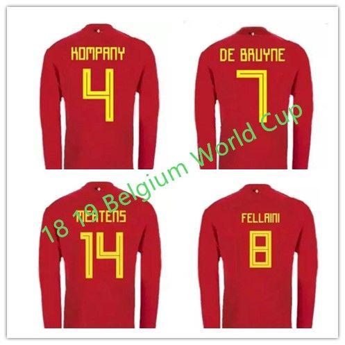 411b42dcdec 2018 World Cup Belgium Long Sleeve Soccer Jersey 17 18 Belgium Home ...