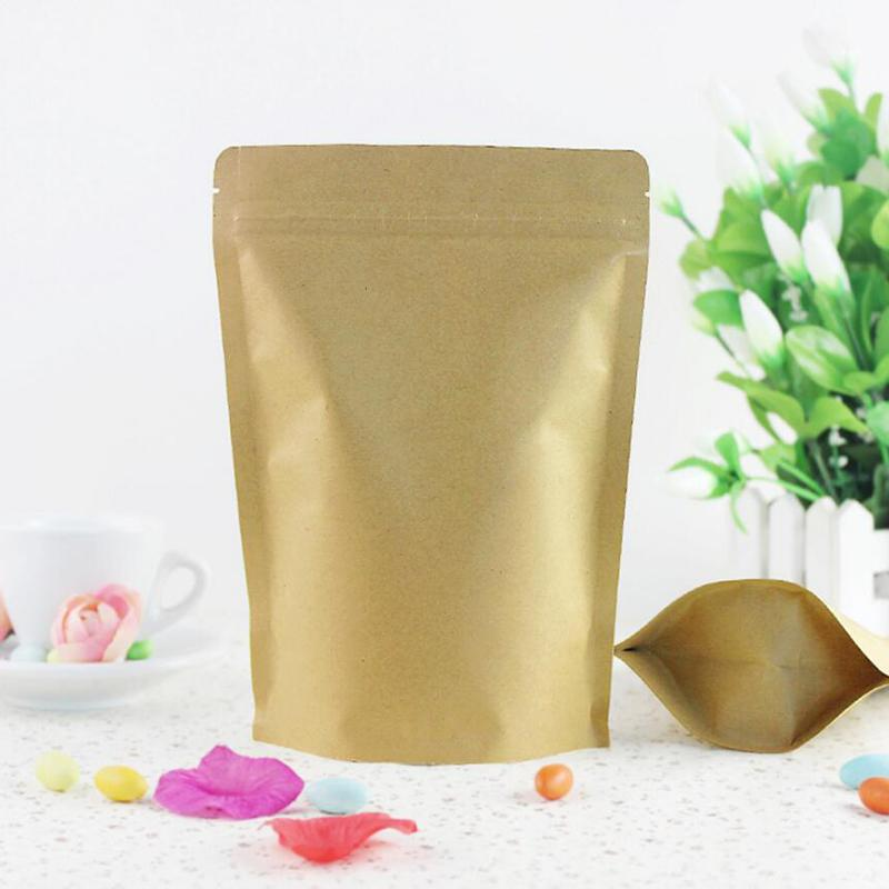 100 Pcs Wholesale Brown Foil Stand-Up Heat Sealable Resealable Zip Pouch, Kraft Paper Food Storage Packaging Bag