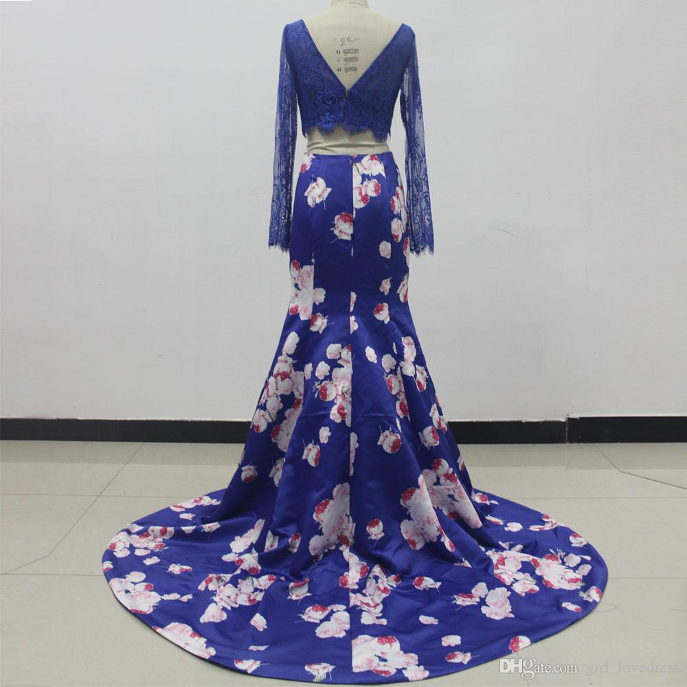 Real Photos Women Long Sleeve Two Pieces Floral Lace Mermaid Prom Dresses 2018 Floor Length Zipper Satin Evening Gowns Custom Made